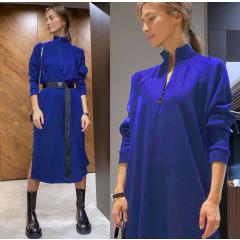 Γυναικείο μακρύ μπλουζοφόρεμα με ζώνη 5395 μπλε