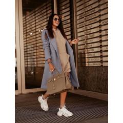 Γυναικείο παλτό με κουμπιά από τις δυο πλευρές 5356 γκρι