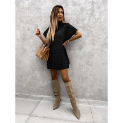 Γυναικείο πλεκτό μπλουζοφόρεμα 00818 μαύρο