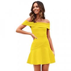 Γυναικείο έξωμο φόρεμα 5052 κίτρινο