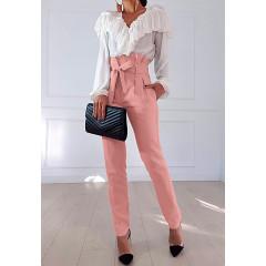 Γυναικείο ψηλόμεσο παντελόνι 19176 ροζ
