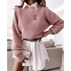 Γυναικείο μονόχρωμο πουλόβερ 00876 πούδρα