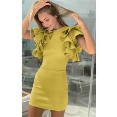 Γυναικείο φόρεμα με βολάν 1918 κίτρινο