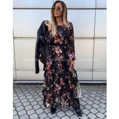 Γυναικείο μακρύ φόρεμα με βολάν 3758 μαύρο