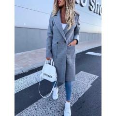 Γυναικείο μακρύ παλτό με φόδρα 19690 γκρι