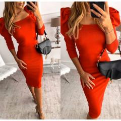 Γυναικείο φόρεμα με φουσκωτό μανίκι 35201 κόκκινο