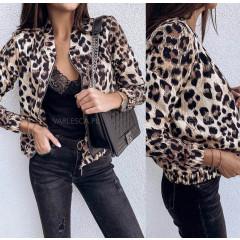 Γυναικείο μπουφάν με animal print λεοπάρ 3744 μπεζ
