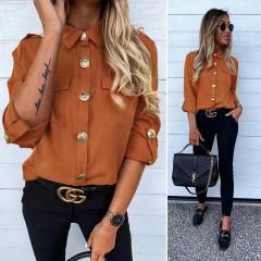 Γυναικείο πουκάμισο με εντυπωσιακά κουμπιά 3741 καφέ