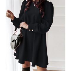 Γυναικείο φόρεμα με κουμπιά πίσω 3923 μαύρο
