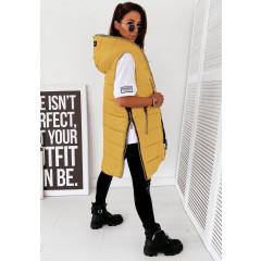 Γυναικείο αμάνικο μπουφάν με φερμουάρ 18675 κίτρινο