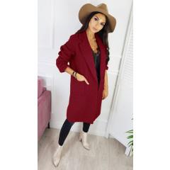 Γυναικείο παλτό μέχρι το γόνατο 3806 μπορντό