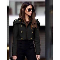 Γυναικείο κοντό παλτό 21633 μαύρο