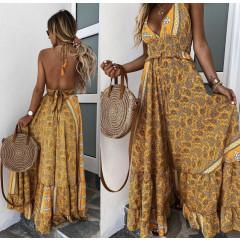 Γυναικείο μακρύ φόρεμα με σχέδια 500303