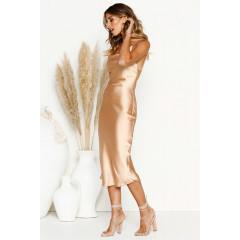 Γυναικείο σατέν φόρεμα μίντι 3956 χρυσαφί