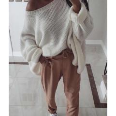 Γυναικείο χαλαρό πουλόβερ 3133 άσπρο
