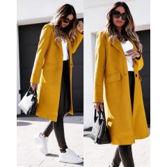 Γυναικείο παλτό μίντι με φόδρα 5361 μουσταρδί
