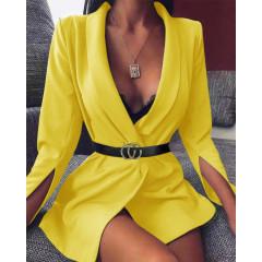 Γυναικείο σακάκι με σκίσιμο στο μανίκι 3994 κίτρινο