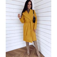 Γυναικείο μακρύ παλτό 3821 κίτρινο