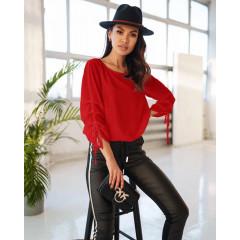 Γυναικεία μπλούζα με σούρα στο μανίκι 5487 κόκκινη