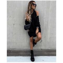 Γυναικείο μπλουζοφόρεμα με φερμουάρ 3911 μαύρο