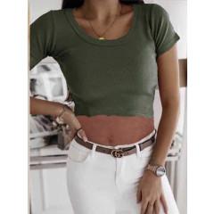 Γυναικείο κοντομάνικο κοντό 2437 σκούρο πράσινο