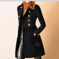 Εντυπωσιακό παλτό με φόδρα 5416 μαύρο