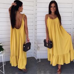 Γυναικείο μακρύ φόρεμα εξώπλατο 3672 κίτρινο