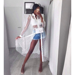 Γυναικείο φόρεμα-πουκάμισο τούλι 7921 άσπρο
