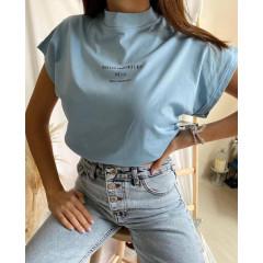 Γυναικείο κοντομάνικο με λουπέτο 4557 γαλάζιο