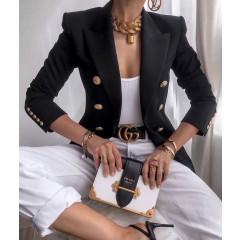 Γυναικείο κομψό σακάκι με χρυσά κουμπιά 3913 μαύρο