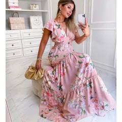 Γυναικείο εντυπωσιακό φόρεμα φλοράλ 21255 ροζ