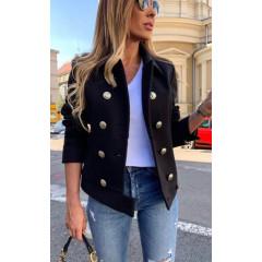 Γυναικείο σακάκι με εντυπωσιακά κουμπιά 3788 μαύρο
