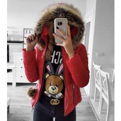 Γυναικείο μπουφάν με γουνάκι 81264 κόκκινο