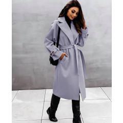 Παλτό με φόδρα και ζώνη 5406 γκρι