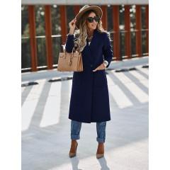Παλτό με τσέπες και φόδρα 3781 σκούρο μπλε