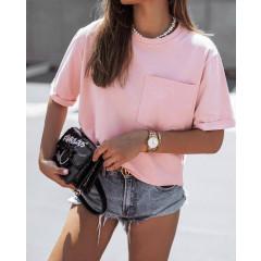 Γυναικείο κοντομάνικο με τσέπη 4688 ροζ