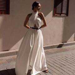 Γυναικεία ολόσωμη φόρμα με ζώνη 3166 λευκή