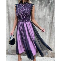 Γυναικείο φόρεμα με τούλι 3160 μωβ