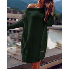 Γυναικείο πλεκτό μπλουζοφόρεμα 00633 πράσινο