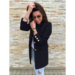 Γυναικείο σακάκι με χρυσά κουμπιά 5016 μαύρο