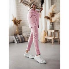 Γυναικείο παντελόνι με αλυσίδα στη ζώνη και τσέπες 5513 ροζ