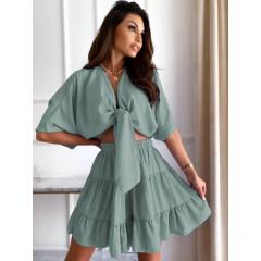 Γυναικείο σετ πουκάμισο και φούστα 14824 μέντα