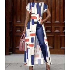 Γυναικείο μπλουζοφόρεμα με σκίσιμο 1718 άσπρο/μπλε
