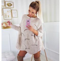 Γυναικείο πλεκτό μπλουζοφόρεμα 7115 μπεζ