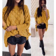 Γυναικείο χαλαρό πουλόβερ 00338 κίτρινο