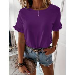 Γυναικεία μπλούζα με εντυπωσιακό μανίκι 5094 σκούρο μωβ
