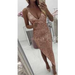 Γυναικείο ασύμμετρο φόρεμα με παγιέτες Κ002 ροζ