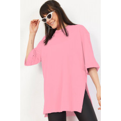 Γυναικείο μακρύ κοντομάνικο 20517 ροζ