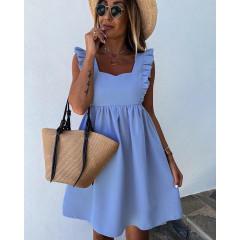 Γυναικείο φόρεμα με εντυπωσιακές τιράντες 5135 γαλάζιο