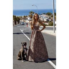 Γυναικείο μακρύ φόρεμα με σκισίματα 230601
